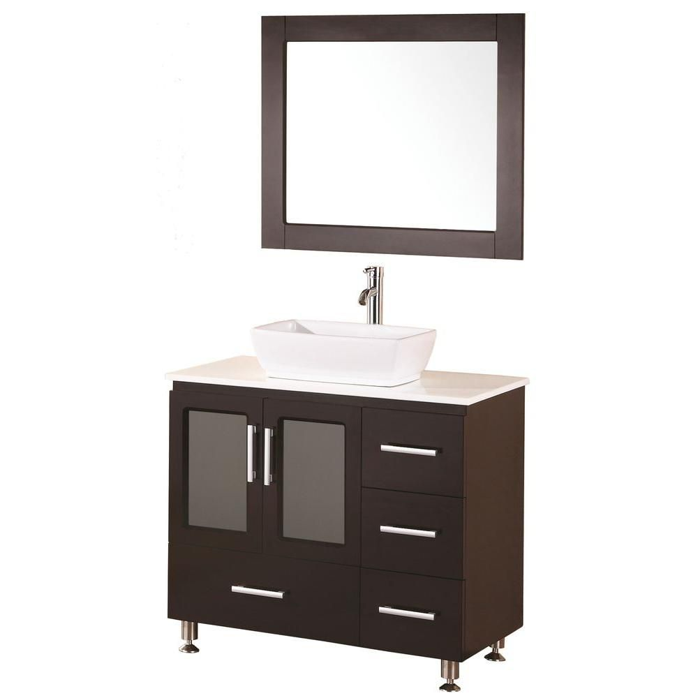 Stanton 36-inch W Vanity in Espresso with Composite Stone Top in White and Mirror