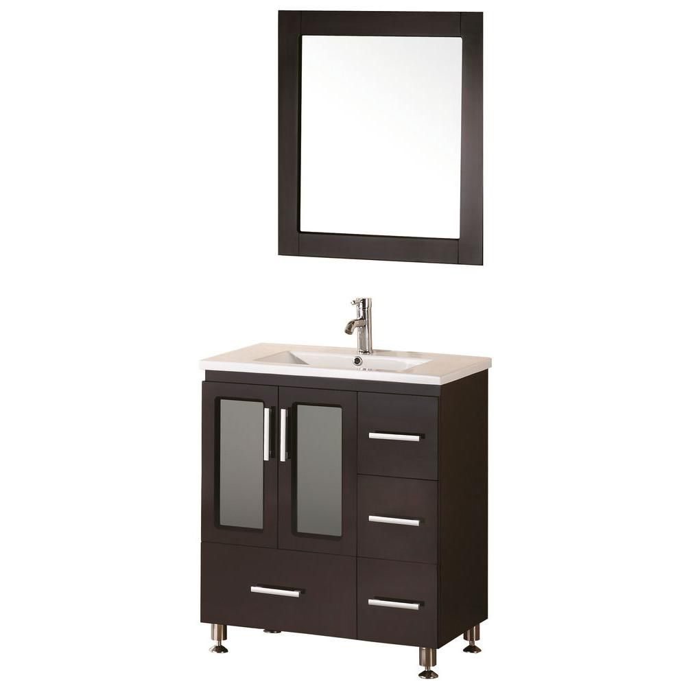 Stanton 32-inch W Vanity in Espresso with Porcelain Top in White and Mirror
