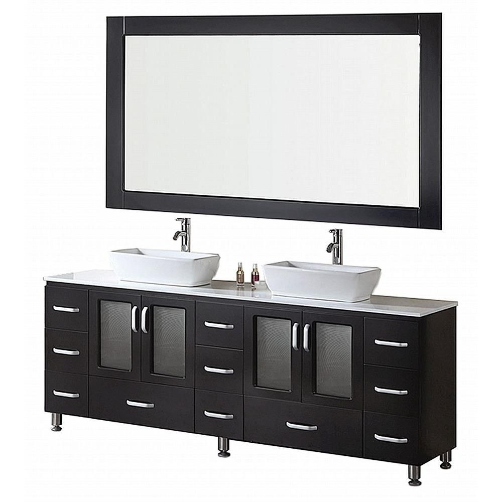 Stanton 72-inch W Vanity in Espresso with Composite Stone Top in White and Mirror