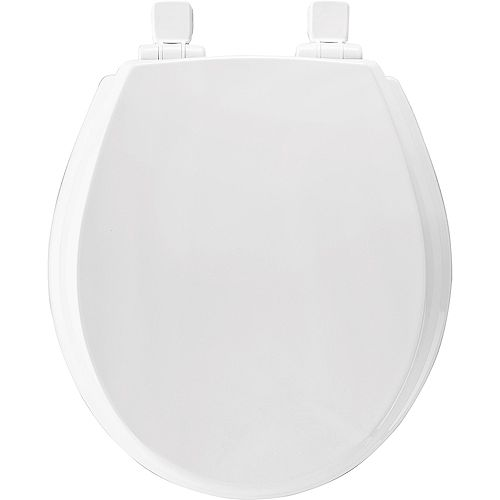 Bemis Round Wood Toilet Seat with Whisper Close and Easy Clean & Change Hinge in White