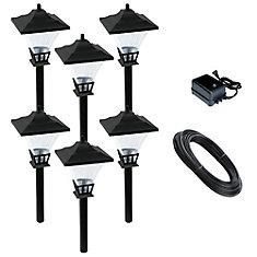 12V LowVage 6-Light Cast Aluminum 4W Path Light Kit Black
