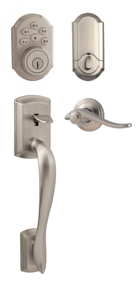 Avalon Satin Nickel Handle Set with SmartCode