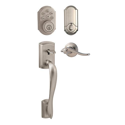 Avalon Satin Nickel Keyless Entry Handleset with SmartCode