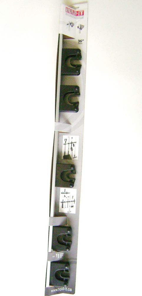 Hold-It 90cm/36 inch Aluminum Rail complete with 5 Hold-Its, Black