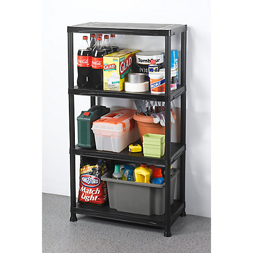 4-Shelf 15-inch D x 28-inch W x 52-inch H Black Plastic Storage Shelving Unit
