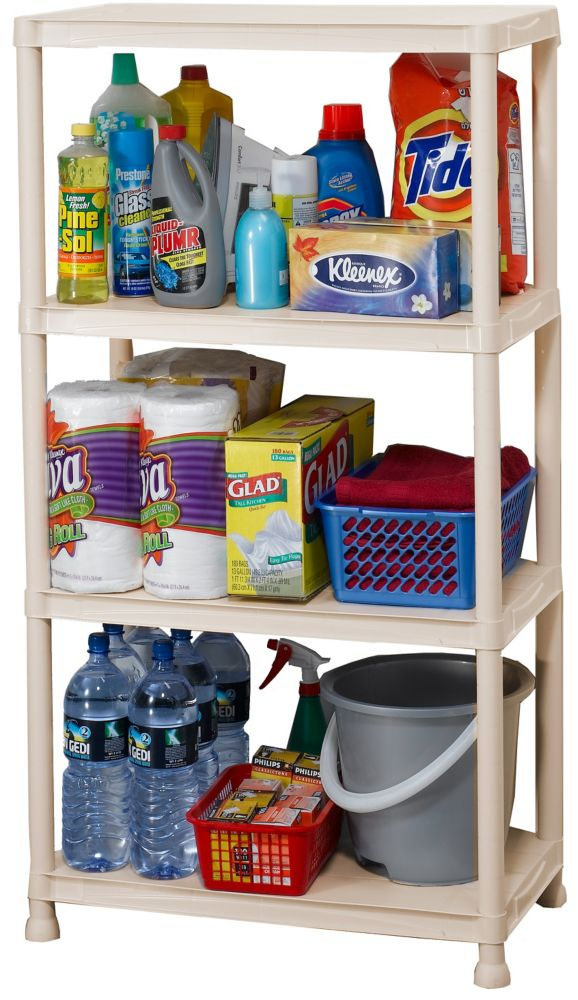hdx 15 inch resin shelving white the home depot canada. Black Bedroom Furniture Sets. Home Design Ideas