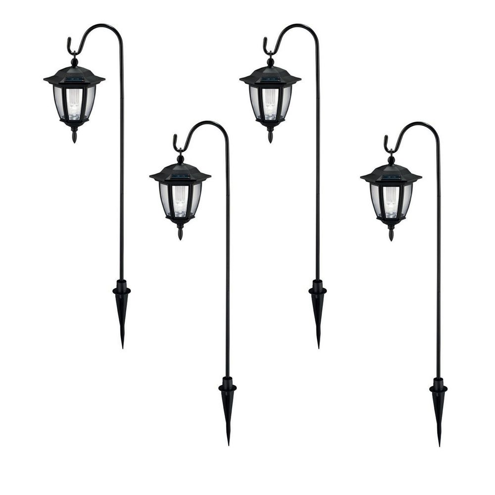 Hampton Bay Black 4 Piece Solar Dual Mount Coach Light Set The Home Depot C