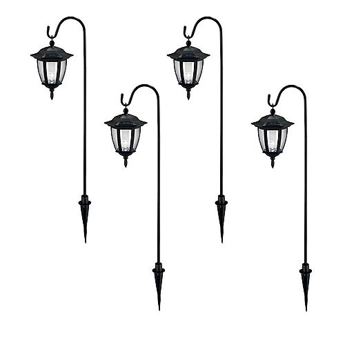 Hampton Bay Solar Black Outdoor Integrated LED Shepard Hook Landscape Path Light with Clear Lens (4-Pack)