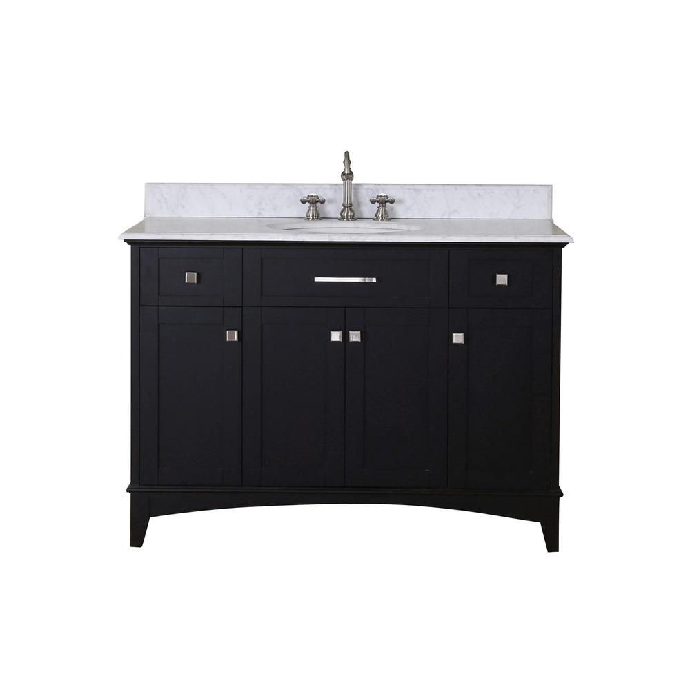 Manhattan - Meuble-lavabo de 48 po. Expresso foncé avec comptoir en marbre blanc de carrare (Robi...
