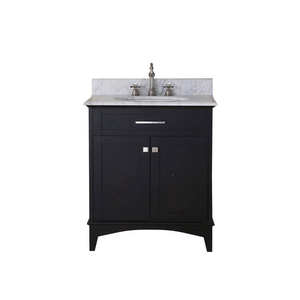 Water Creation Manhattan 30-inch Vanity in Dark Espresso with Marble Vanity Top in Carrara White