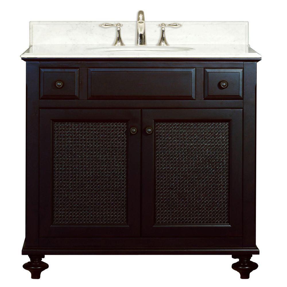 Londres - Meuble-lavabo de 36 po. Expresso foncé avec comptoir en marbre blanc de carrare (Robine...