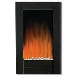 Modern Homes Black Bevel Edge Glass Front Wall Mount Fireplace