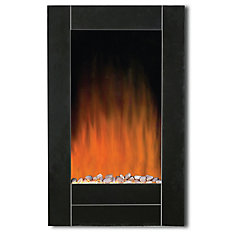 Black Bevel Edge Glass Front Wall Mount Fireplace