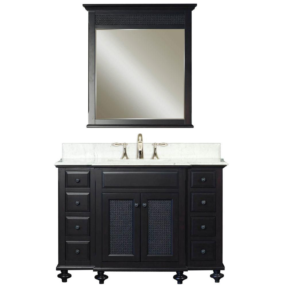 London 48-inch W Vanity in Dark Espresso with Marble Top and Matching Mirror
