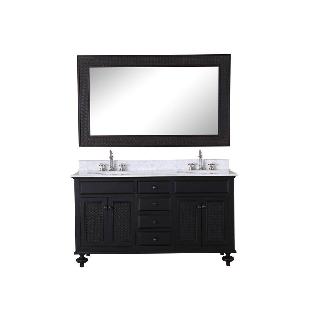 Londres - Meuble-lavabo de 60 po. Expresso foncé, comptoir en marbre blanc de carrare et miroir a...