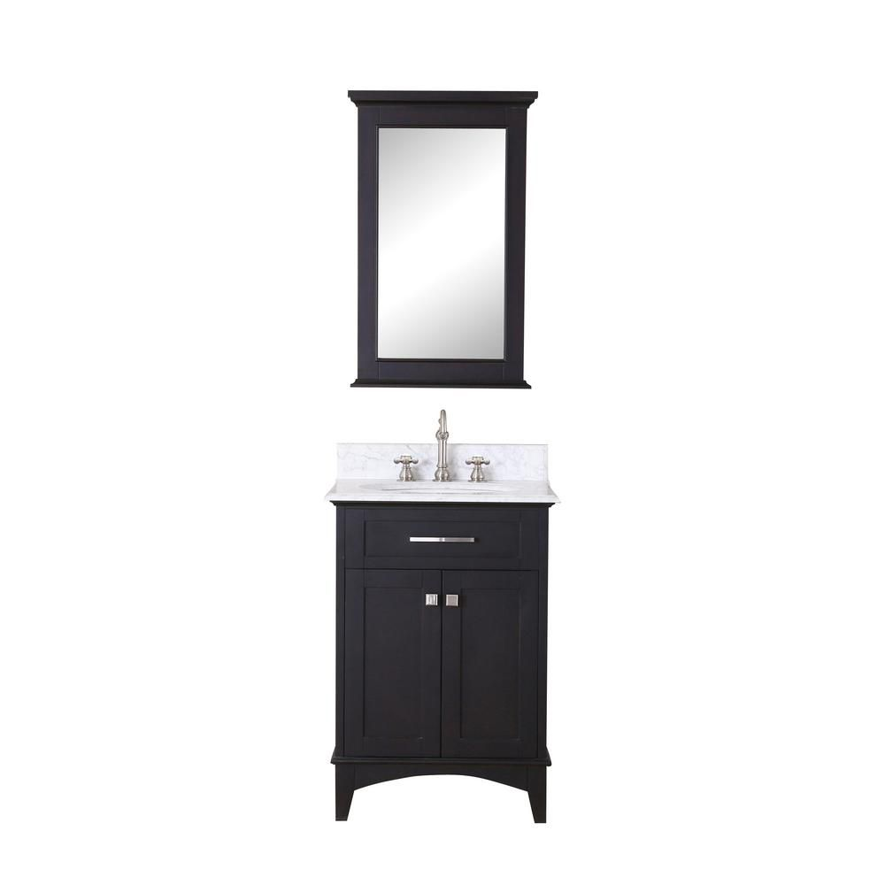 Water Creation Manhattan 24-inch W 2-Door Freestanding Vanity in Black With Marble Top in White With Mirror