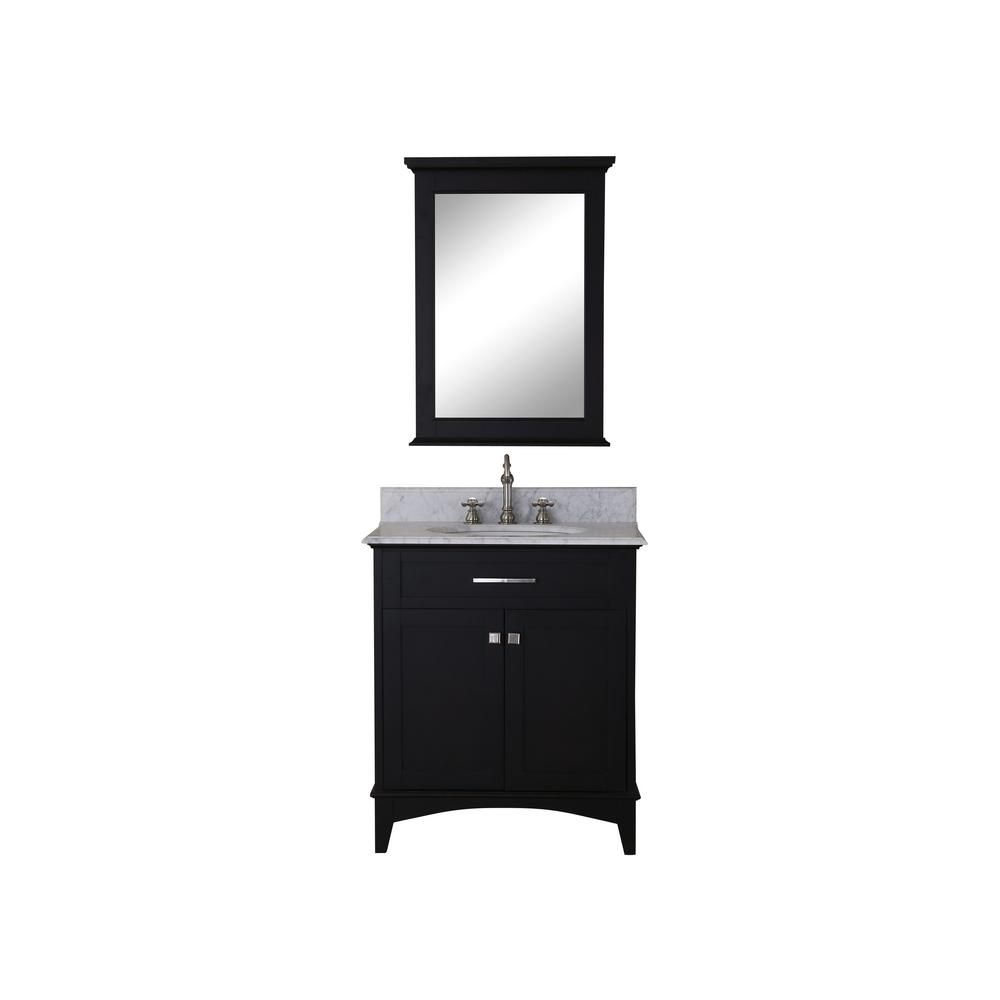 Water Creation Manhattan 30-inch W 2-Door Freestanding Vanity in Black With Marble Top in White With Mirror