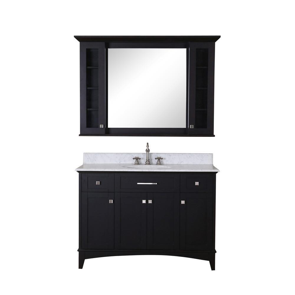 Manhattan - Meuble-lavabo de 48po. Expresso foncé, comptoir en marbre blanc de carrare et miroir assorti (Robinet non inclus)