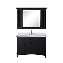 Water Creation Manhattan 48-inch 2-Drawer 4-Door Freestanding Vanity in Black With Marble Top in White With Mirror