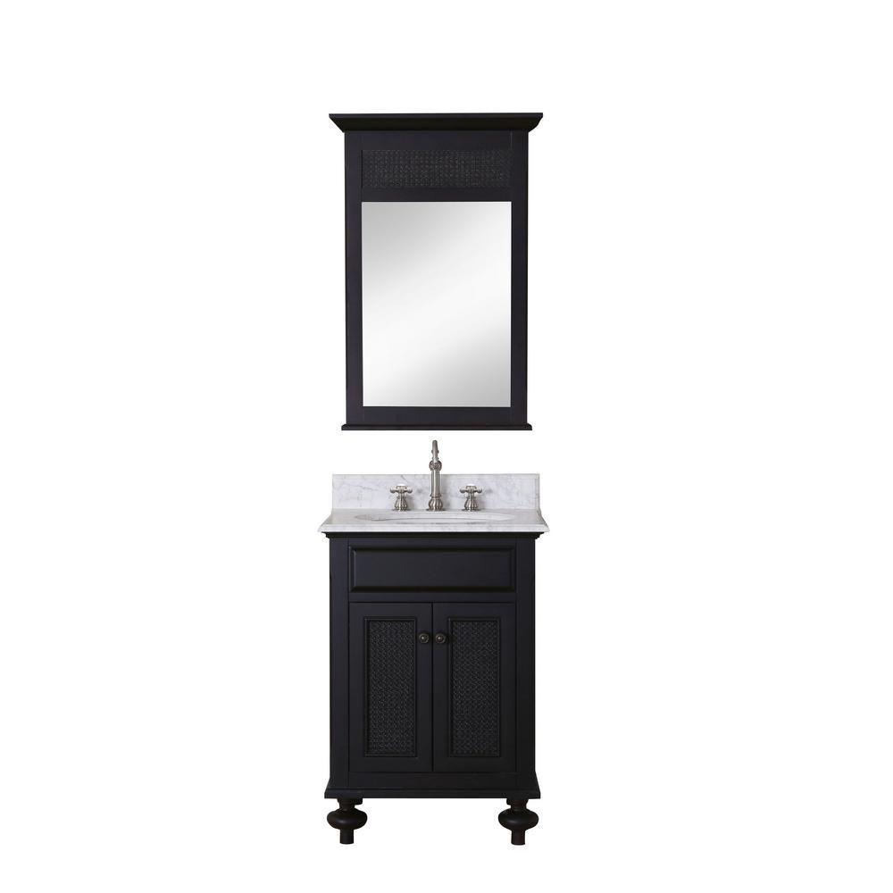 Londres - Meuble-lavabo de 24 po. Expresso foncé, comptoir en marbre blanc de carrare et miroir assorti (Robinet non inclus)
