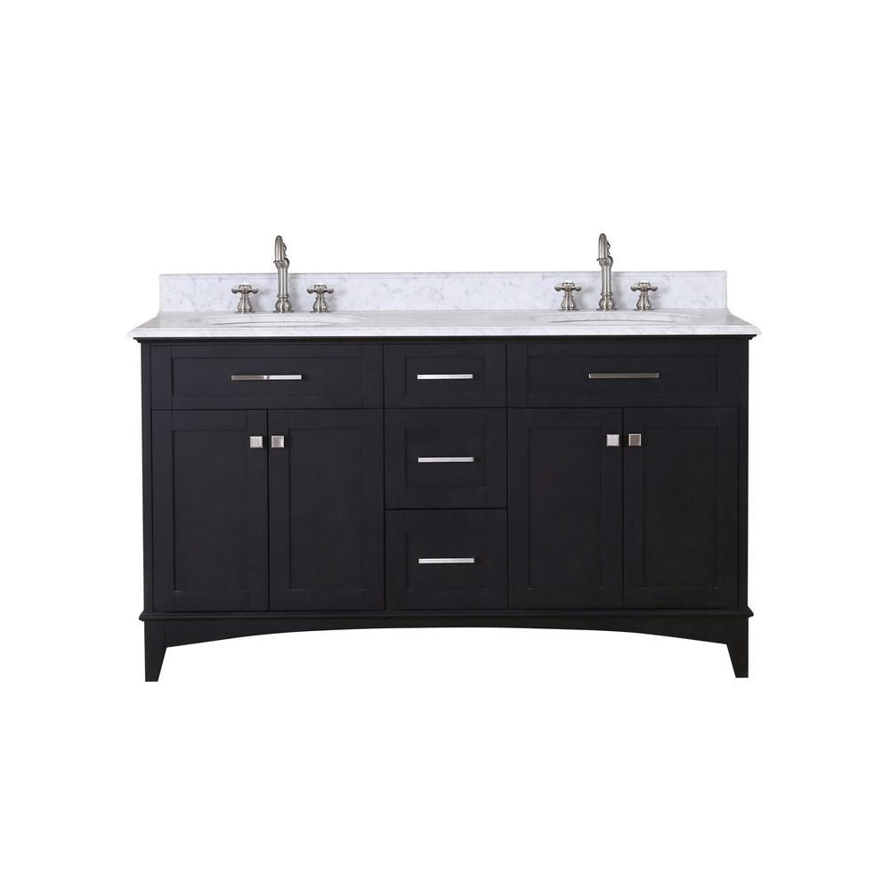 Water Creation Manhattan 60-inch Vanity in Dark Espresso with Marble Vanity Top in Carrara White