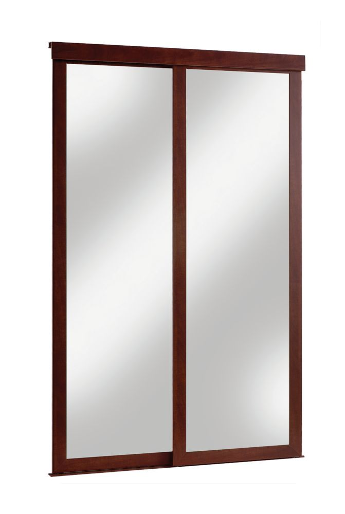 48 inch espresso framed mirrored sliding door the home depot canada