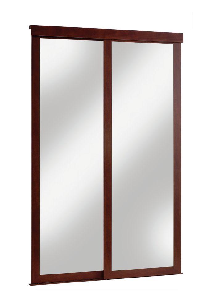 48 inch espresso framed mirrored sliding door the home depot canada