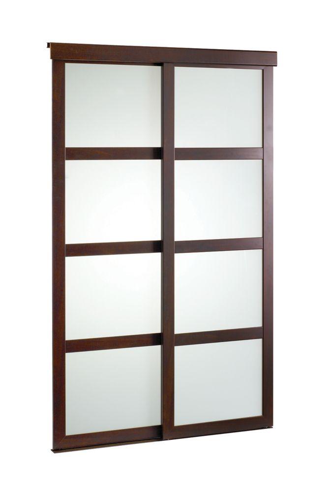 48-inch Espresso Framed Frosted Sliding Door