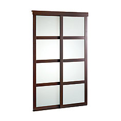 48-inch Espresso Framed Frosted Sliding Door