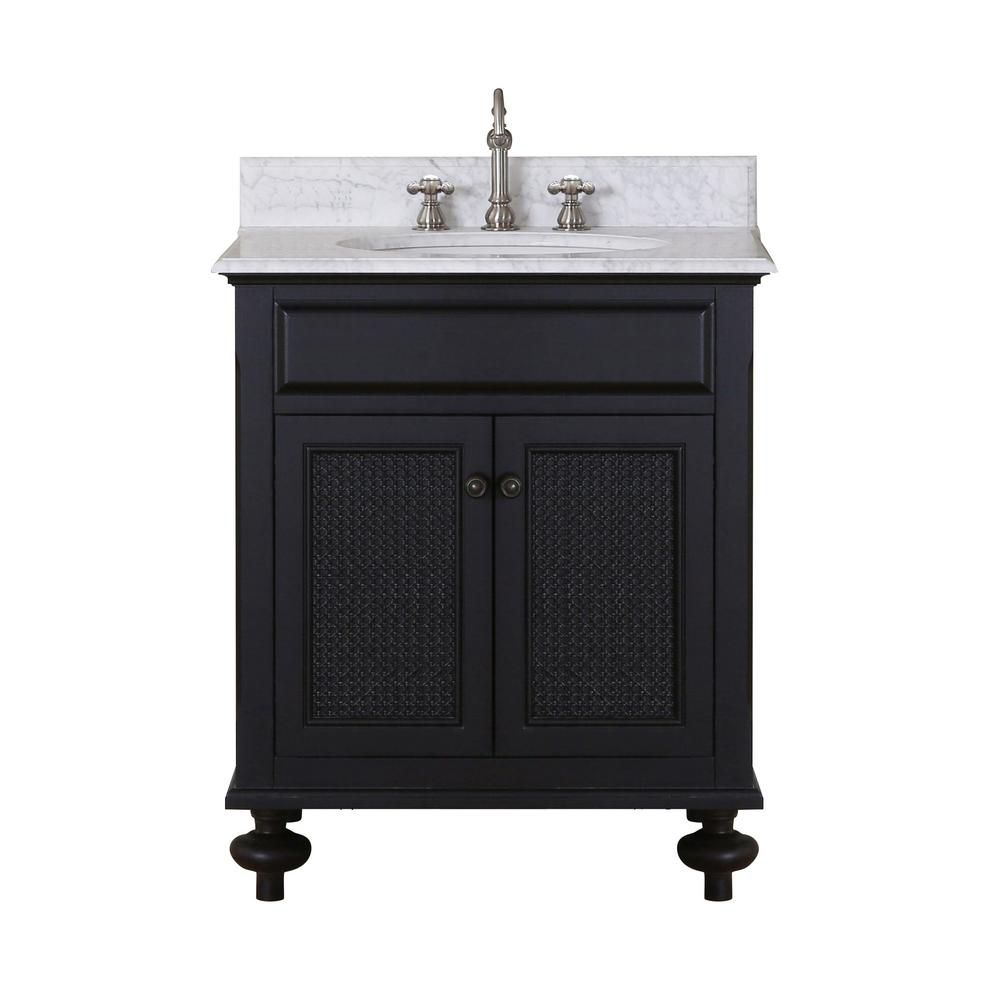 water creation london 31 inch w 2 door freestanding vanity in black with marble top in white. Black Bedroom Furniture Sets. Home Design Ideas