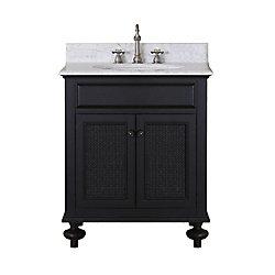 Water Creation London 31-inch W 2-Door Freestanding Vanity in Black With Marble Top in White