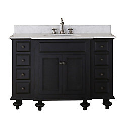 Water Creation London 49-inch W 8-Drawer 2-Door Freestanding Vanity in Black With Marble Top in White