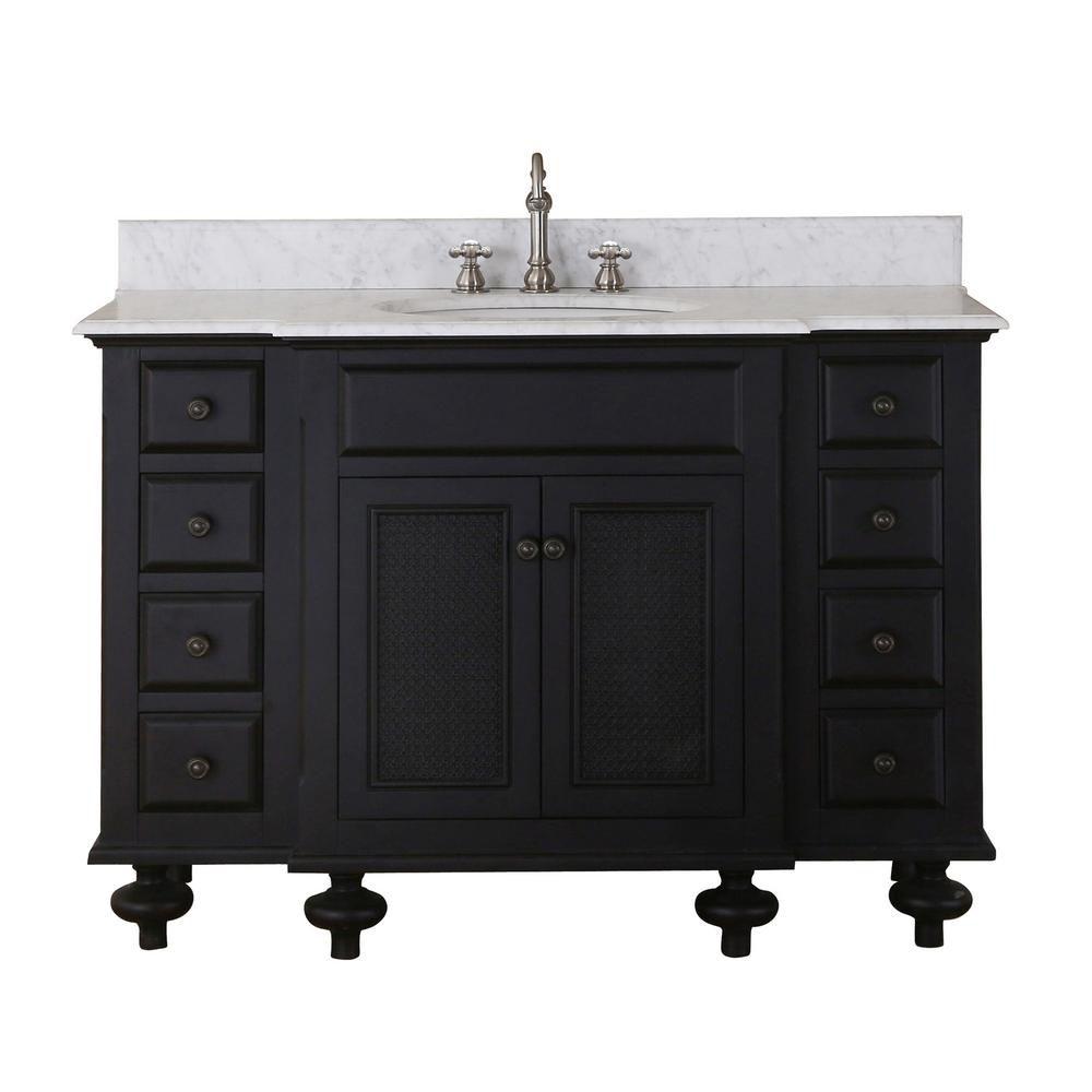 Londres - Meuble-lavabo de 48 po. Expresso foncé avec comptoir en marbre blanc de carrare (Robine...