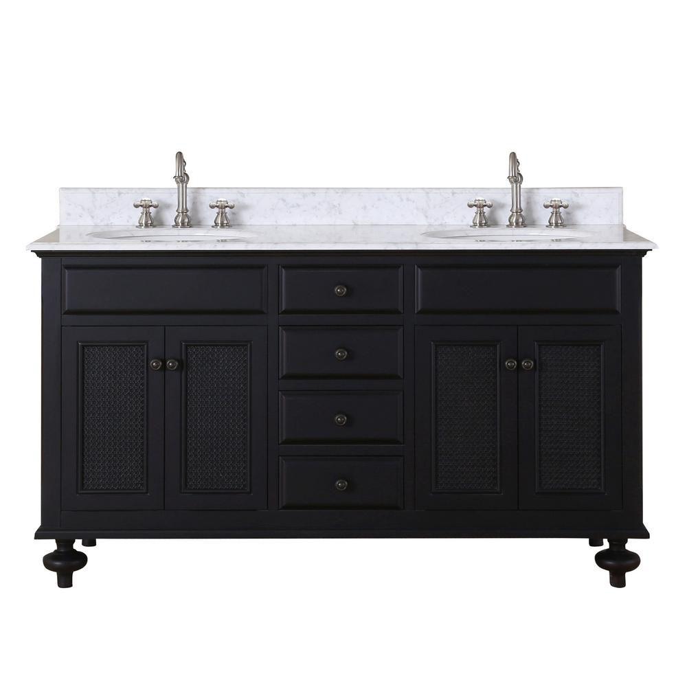 London 60-inch W Vanity in Dark Espresso with Marble Top in Carrara White