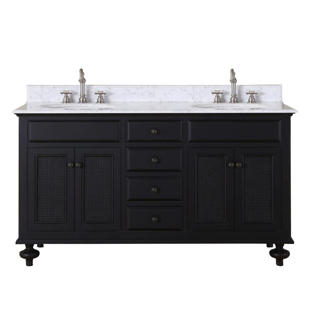 London 60-inch W Vanity in Dark Espresso with Marble Top in Carrara White
