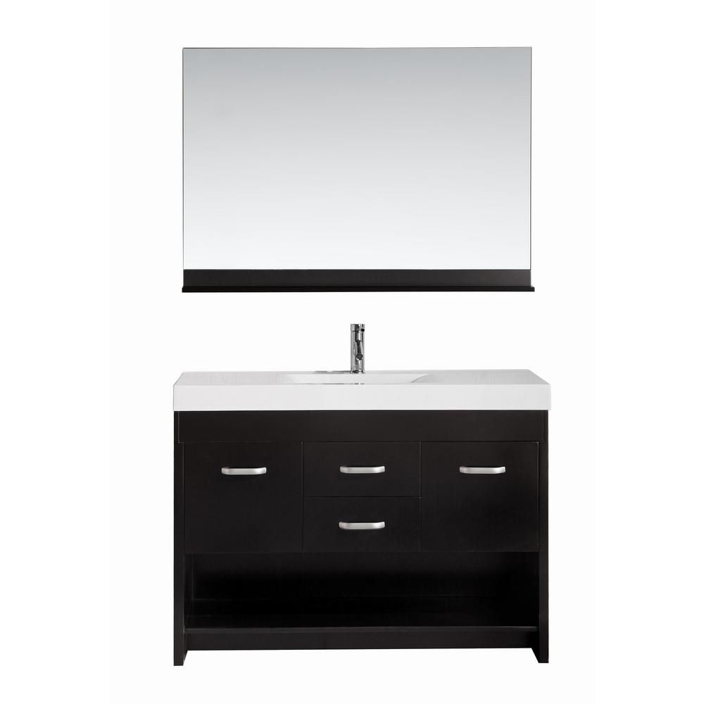 Citrus 48-inch W Vanity in Espresso with Porcelain Top in White and Mirror