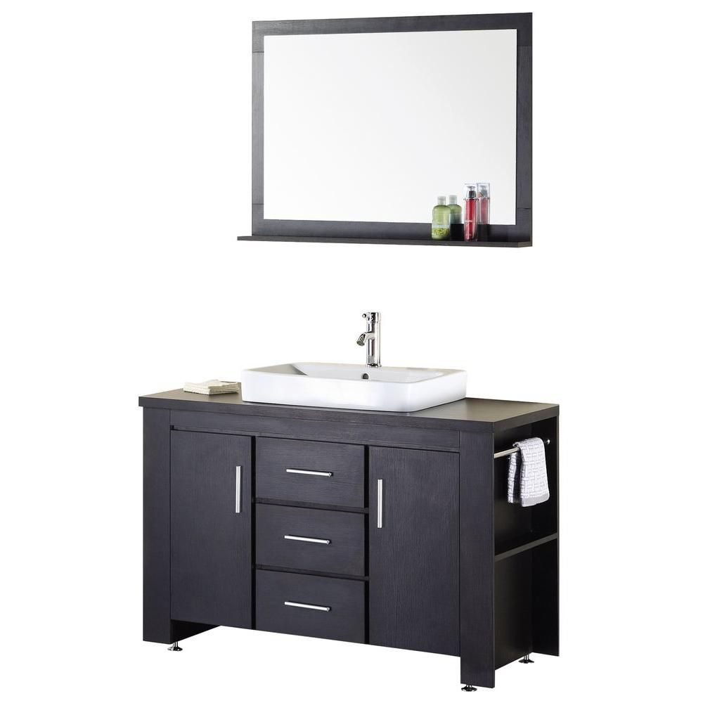Washington 48-inch W Vanity in Espresso with Wood Top in Espresso and Mirror
