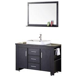 Design Element Washington 48-inch W x 22-inch D Vanity in Espresso with Wood Vanity Top and Mirror in Espresso