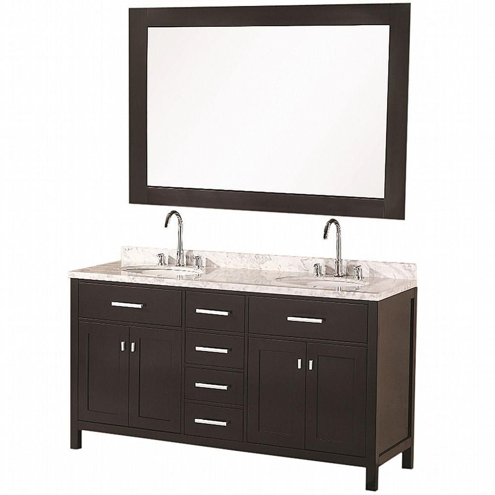 London 61-inch W Vanity in Espresso with Marble Top in Carrara White and Mirror
