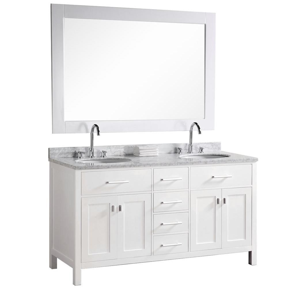 London 61-inch W Vanity in Pearl White with Marble Top in Carrara White and Mirror