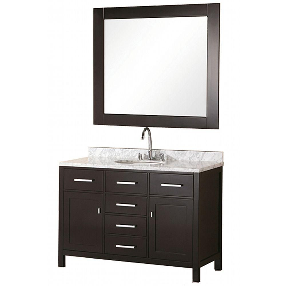 London 48-inch W Vanity in Espresso with Marble Top in Carrara White and Mirror
