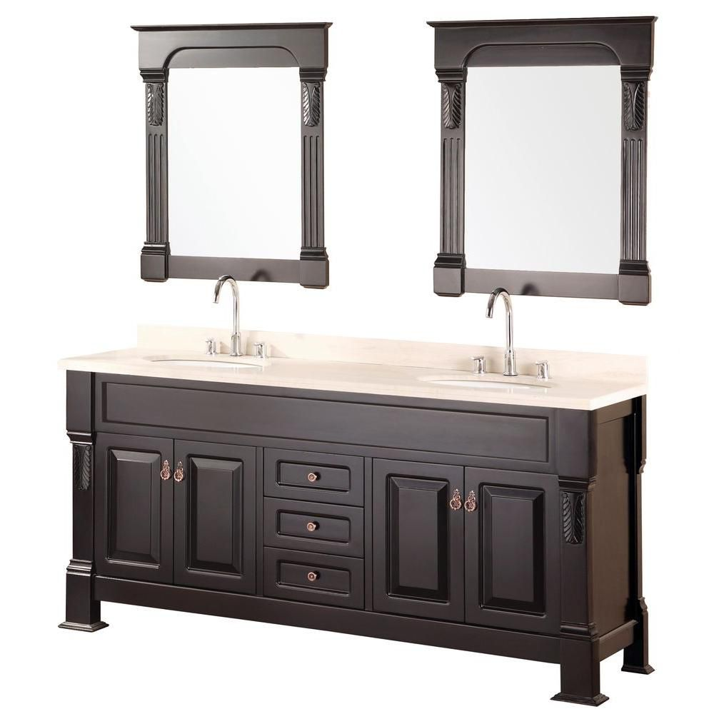 Andover 72-inch W Vanity in Espresso Finish with Marble Top