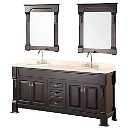 Design Element Andover 72-inch W x 22-inch D Vanity in Espresso with Creme Marfil Marble Top and Mirror in Espresso