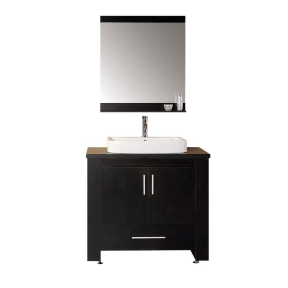 Washington 36-inch W Vanity in Espresso with Water Resistant Top in Black and Mirror