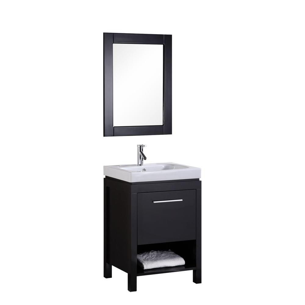 New York 24-inch W Vanity in Espresso with Porcelain Top in White and Mirror