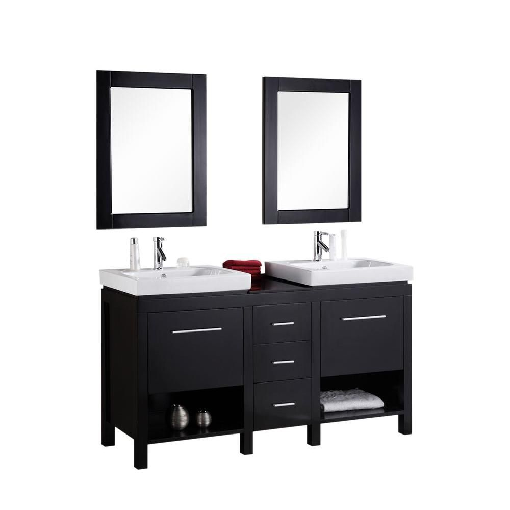 New York 60-inch W Vanity in Espresso with Porcelain Top in White and Mirror