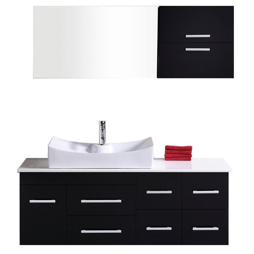 Design Element Springfield 54-inch W x 20-inch D Vanity in Espresso with Composite Stone Top and Mirror in White