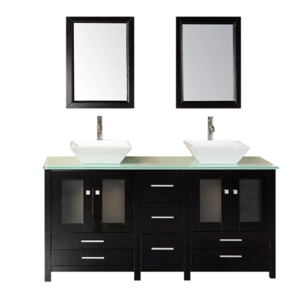 Arlington 61-inch W Vanity in Espresso with Tempered Glass Top in Aqua Green and Mirror