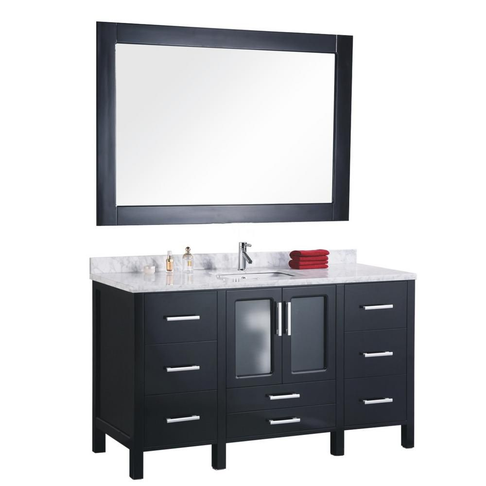 Stanton 60-inch W Vanity in Espresso with Marble Top in Crema Marfil and Mirror