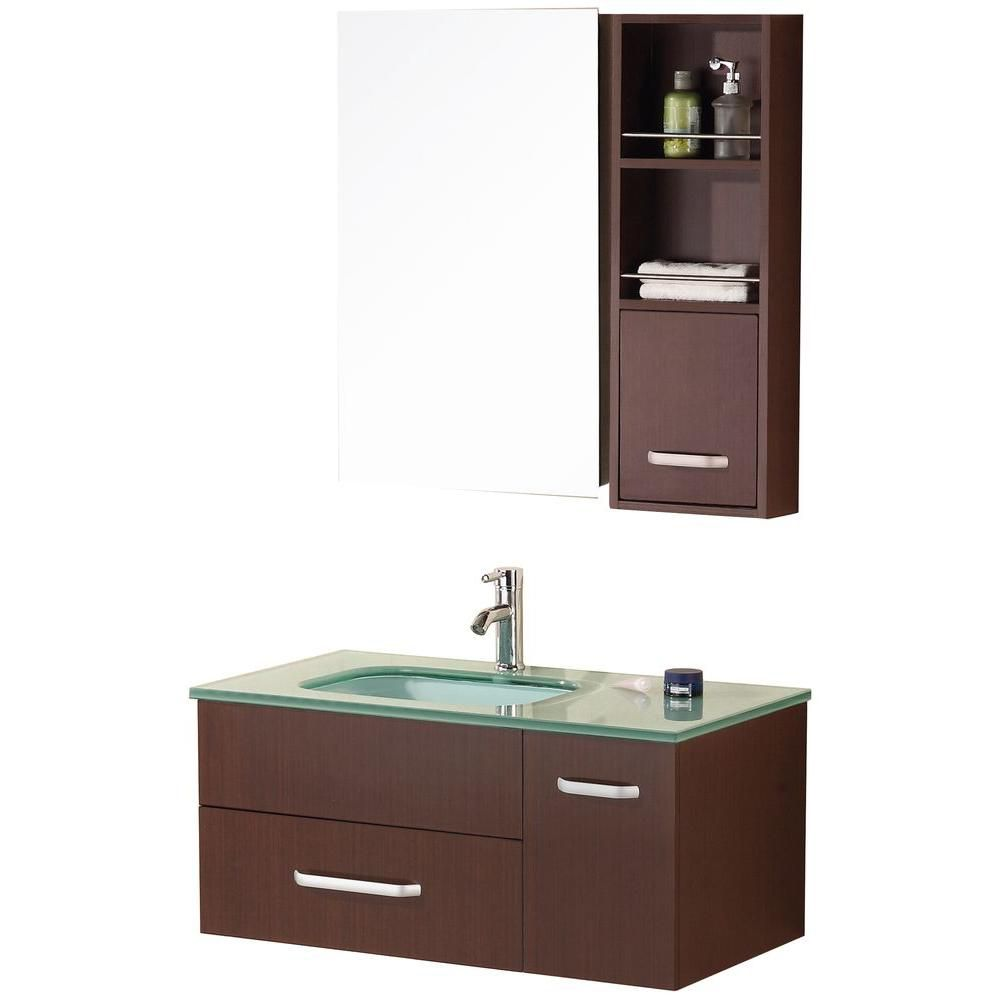 Christine 35-inch W Vanity in Toffee Finish with Glass Top in Mint and Mirror